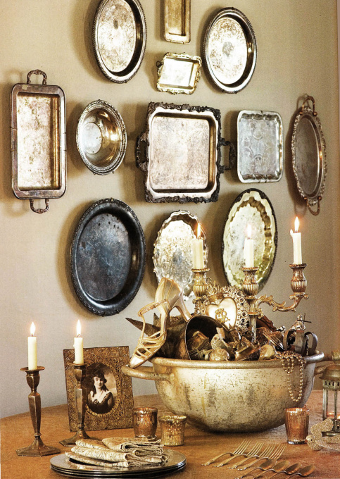 Silver Platter Plate Wall - one of 20+ creative plate walls at eclecticallyvintage.com