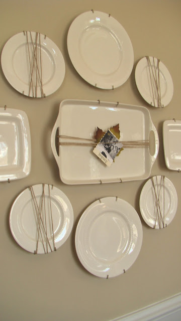 Twine Wrapped White Plate Wall - one of 20+ creative plate walls at kellyelko.com