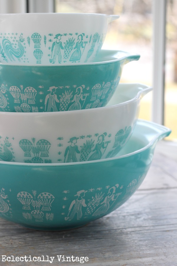 Eclectically Vintage vintage pyrex Butterprint collections thrift