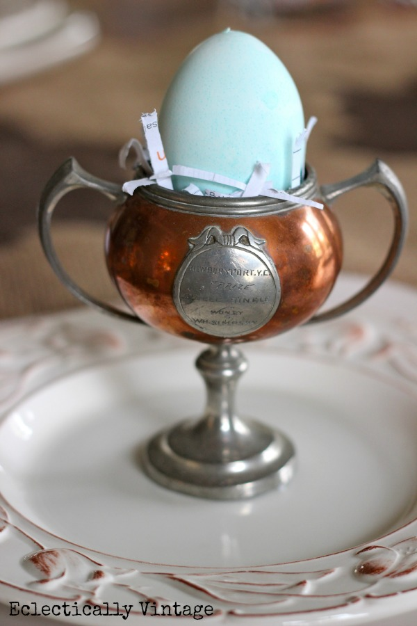 Eclectically Vintage easter spring egg cups trophies loving cups