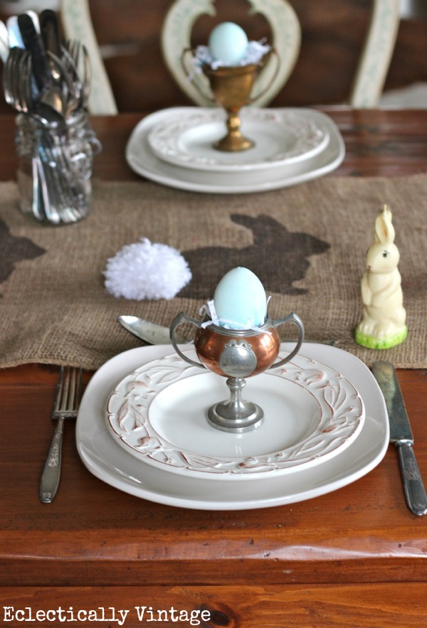 Eclectically Vintage spring burlap easter bunny pom pom crafts table setting trophies loving cups egg holder