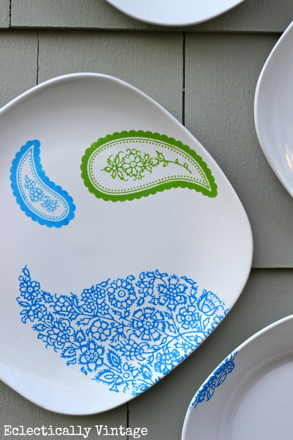 DIY Paisley Plate Wall - just one of the many ways you can customize your own plate wall!  eclecticallyvintage.com
