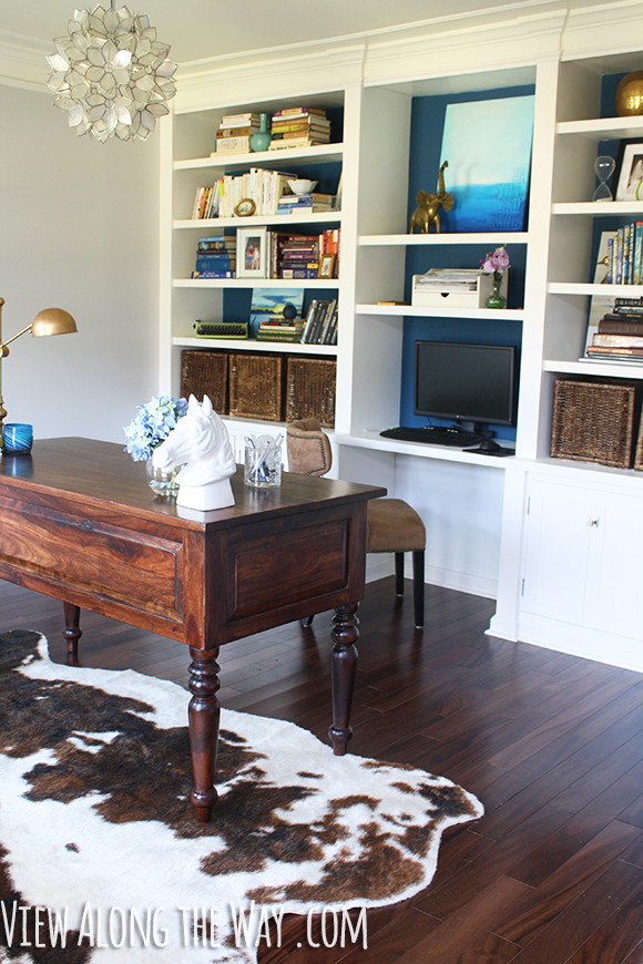 Home office with style - and a DIY capiz light!  Plus a great house tour