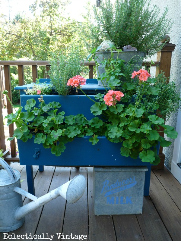 Eclectically Vintage garden dresser planter