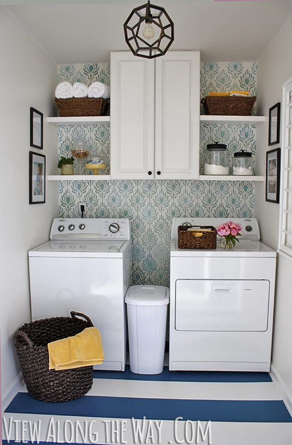 $157 Laundry Room Makeover - DIY's include light fixture, drying rack, painted vinyl floor, stenciled wall ... plus a great house tour!