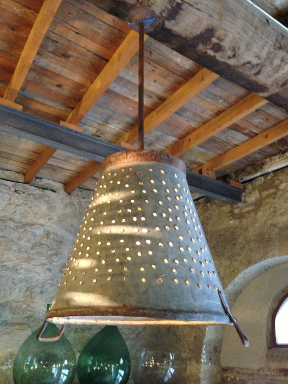Metal Olive Bucket Light on Etsy via Eclectically Vintage