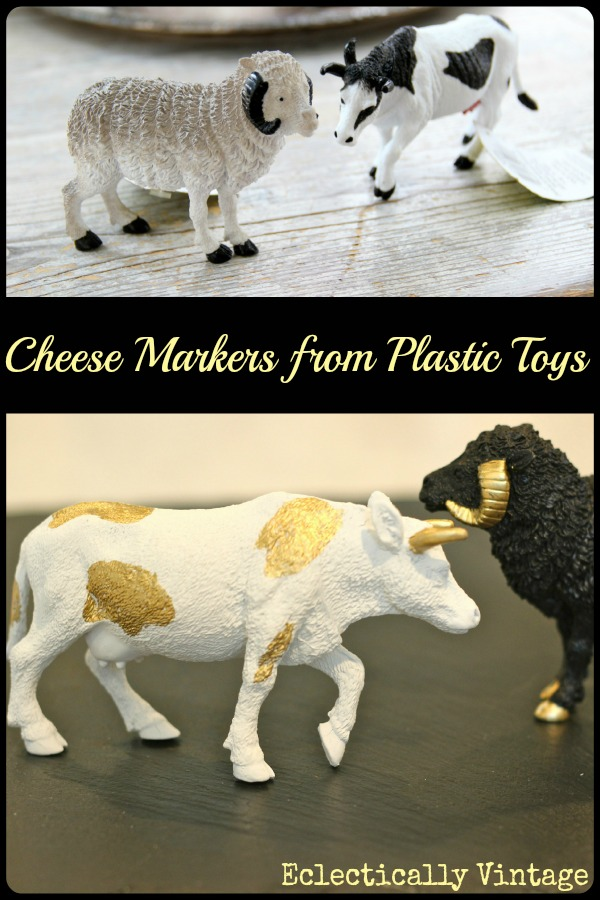 DIY gilded cheese markers - these are so fun!  eclecticallyvintage.com