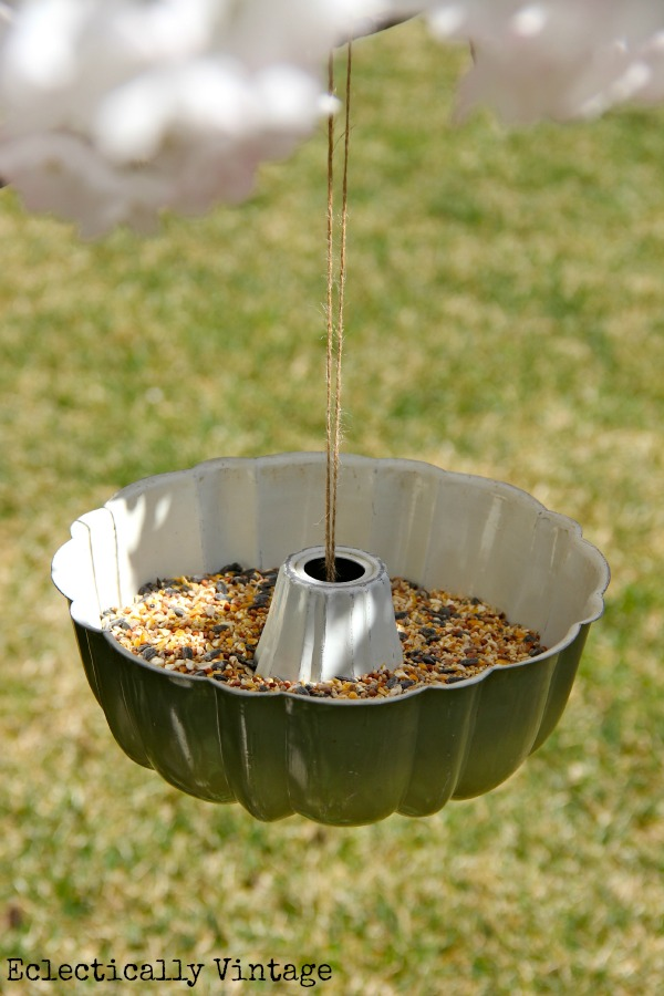 Bundt Pan Bird Feeder - and the simplest way to hang it!  kellyelko.com