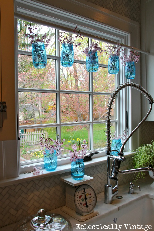 Mason Jar Window Treatment - and New Blue 100 Year Anniversary Mason Jars kellyelko.com