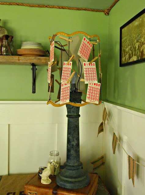 Flea Market Fabulous house tour - you don't want to miss this!  Love this little bingo lampshade!
