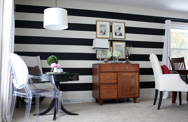 Striped statement wall - and a color/pattern filled house tour