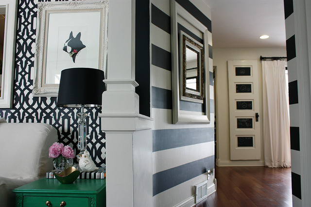 Stenciled and striped statement walls - and a color/pattern filled house tour