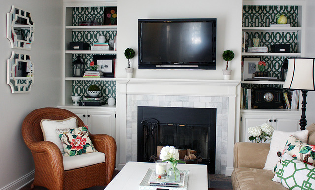 Stenciled Bookcase backs - and a fabulous house tour