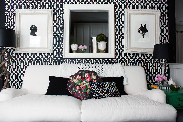 Stenciled statement wall - and a color/pattern filled house tour
