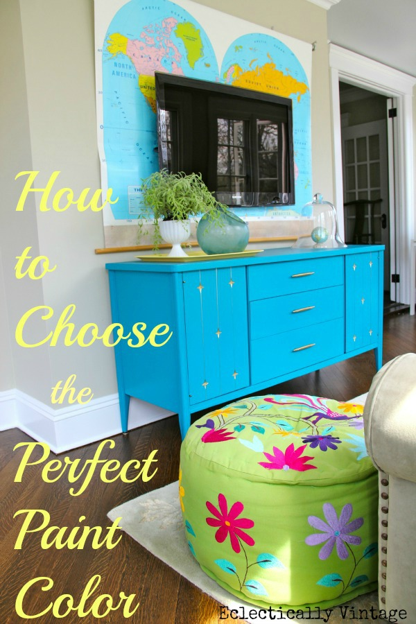 How to Choose the Perfect Paint Color - before you buy!  and an estate sale furniture transformation!  kellyelko.com