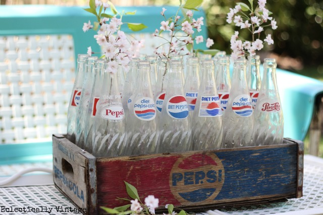 Vintage soda crates & bottles - free find!  kellyelko.com
