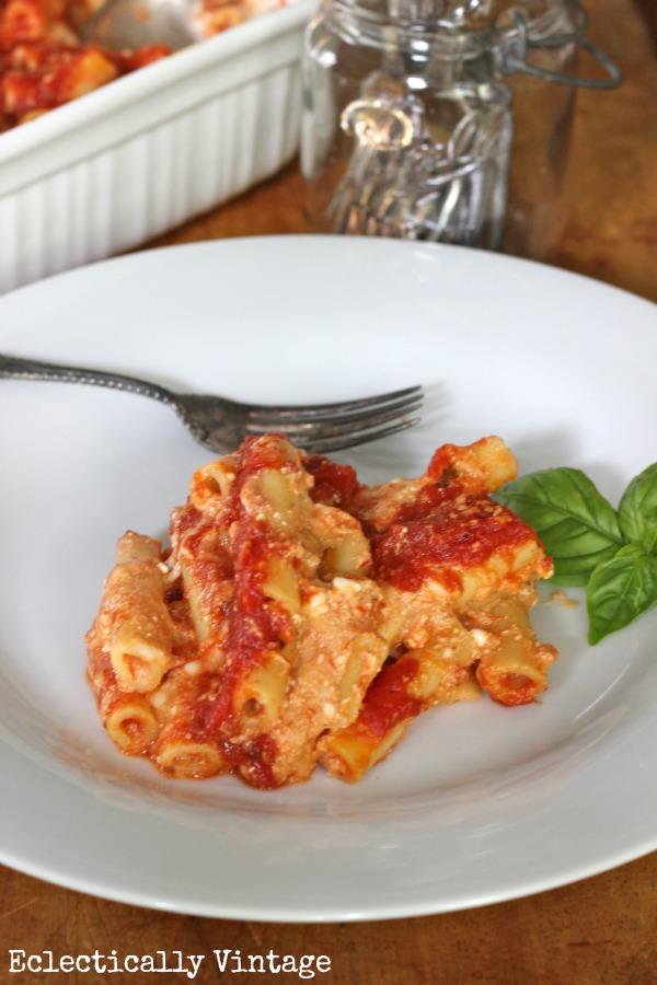 Low Fat Baked Ziti - that tastes amazing!  My whole family always begs for me to make this!  kellyelko.com