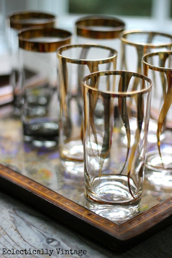 Vintage mid century gold glassware - very Mad Men!