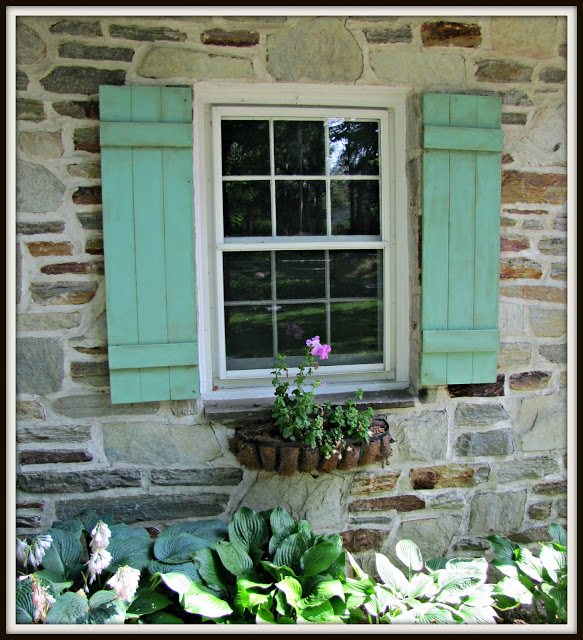 Flea Market Fabulous house tour - you don't want to miss this!   she made these shutters to mimic weathered copper!