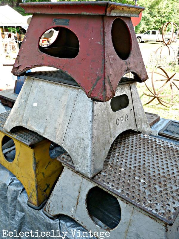 Vintage Railroad Steps found at Brimfield Flea Market - 2 miles and 5,000 vendors!