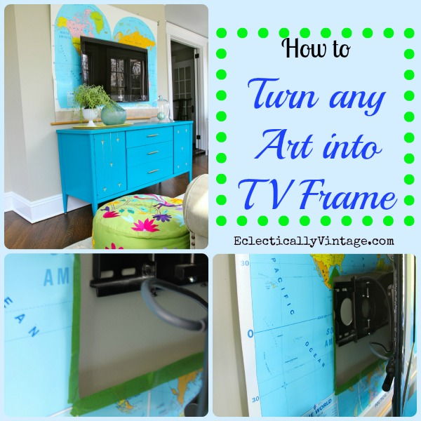 How to turn any art into a TV frame!  Draw attention away from that ugly black hole!  eclecticallyvintage.com