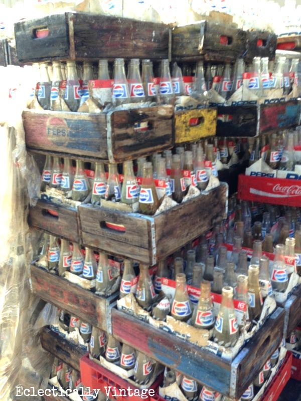 Vintage soda crates & bottles - free find!  eclecticallyvintage.com