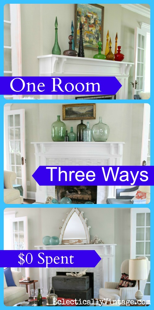 . One Room Three Ways   3 completely different looks with no money spent