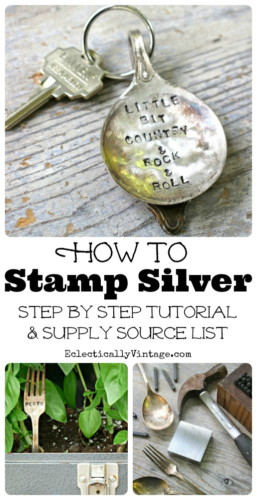 How to Stamp Silverware Tutorial kellyelko.com