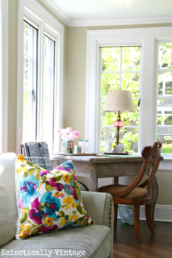 Gorgeous sunroom tour - divided into 3 zones - brilliant!  eclecticallyvintage.com