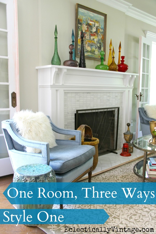 One Room - Three Ways! Check out 21 uniquely decorated rooms from 7 Fabulous Bloggers! kellyelko.com #livingroom #livingroomdecor #interiordecor #decorate #interiorstyling #mantel #manteldecor #vintagedecor #modernvintage