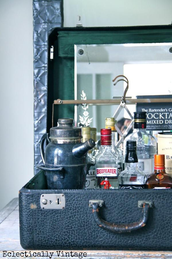 Vintage Suitcase Bar - one of the many vintage finds reimagined at kellyelko.com