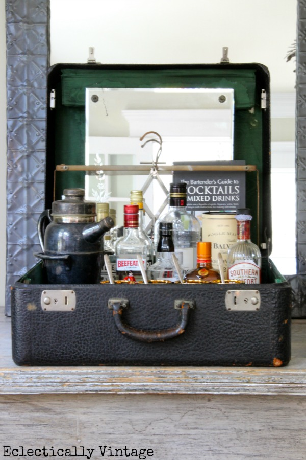 Vintage Suitcase Bar - one of the many vintage finds reimagined at kellyelko.com