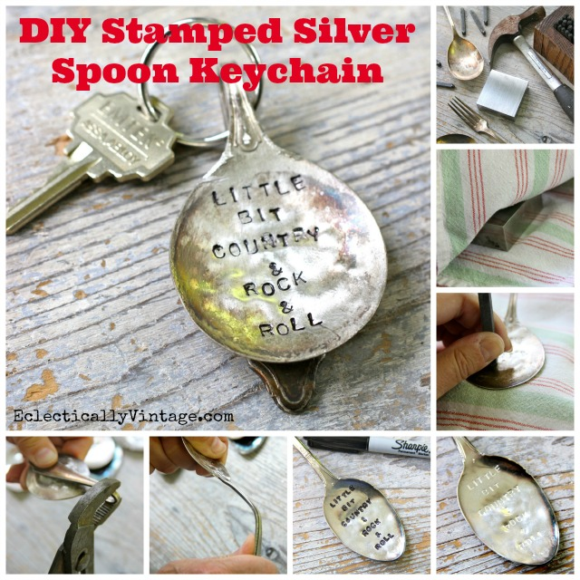 How to Stamp Silver - and a DIY Stamped Silver Spoon Keychain - these are so cute!  eclecticallyvintage.com