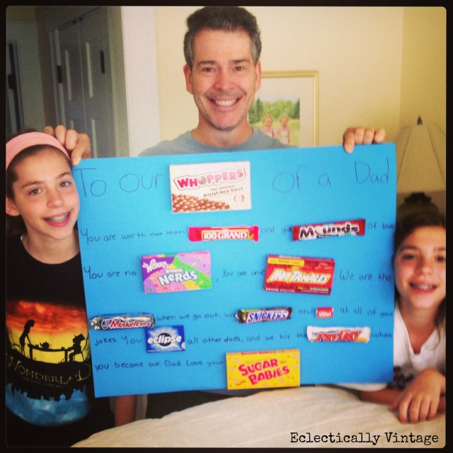 Father's Day Candy Gram - he loved it and the kid's had a blast making it!  eclecticallyvintage.com