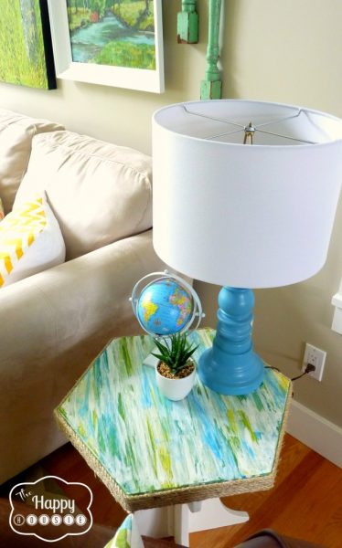 Colorful Lake House tour filled with tons of great DIY ideas!  Like this textured table!