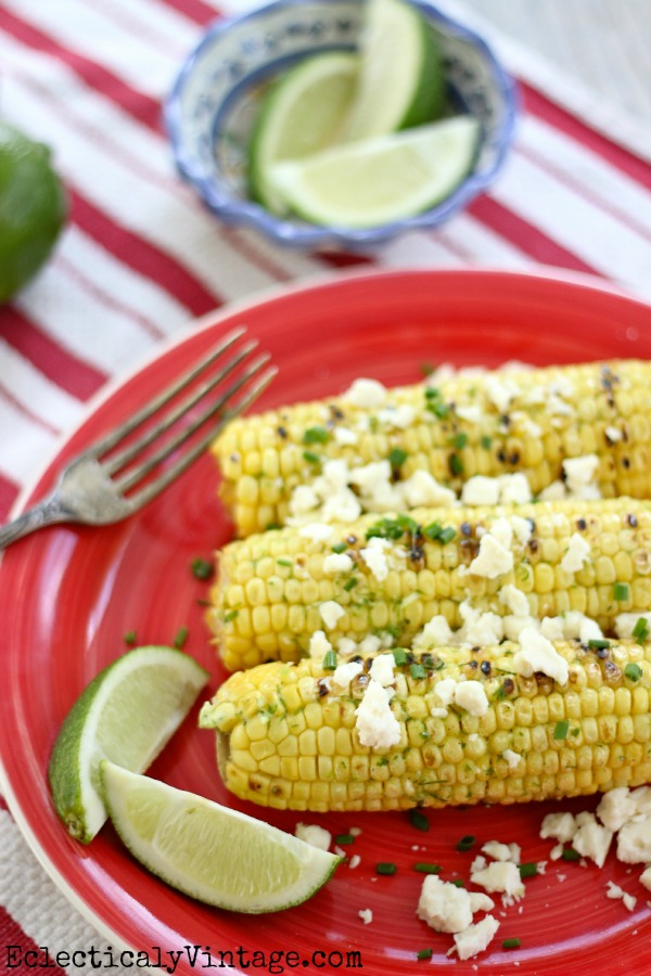 Grilled Mexican Corn on the Cob - great combo of flavors!  kellyelko.com