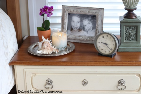 Nightstand decor - I love a tray to corral everything.  eclecticallyvintage.com