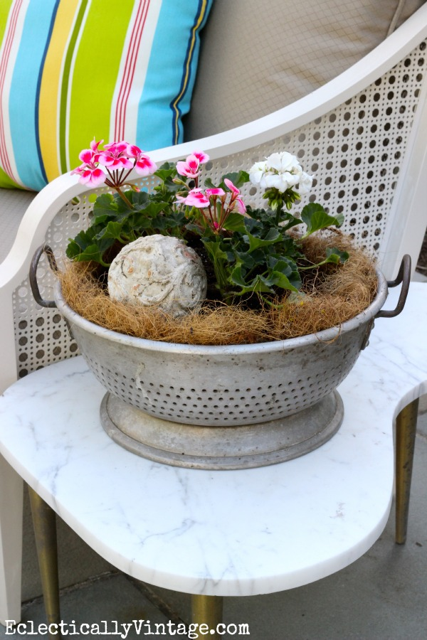 Get creative - vintage industrial colander container garden  One of many unique planters at kellyelko.com