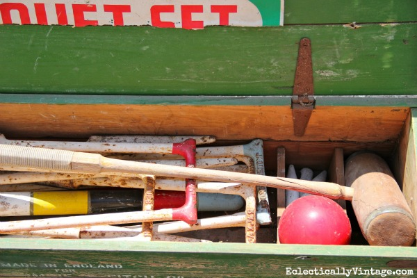 Vintage croquet set - you have to see how it's used indoors!  kellyelko.com