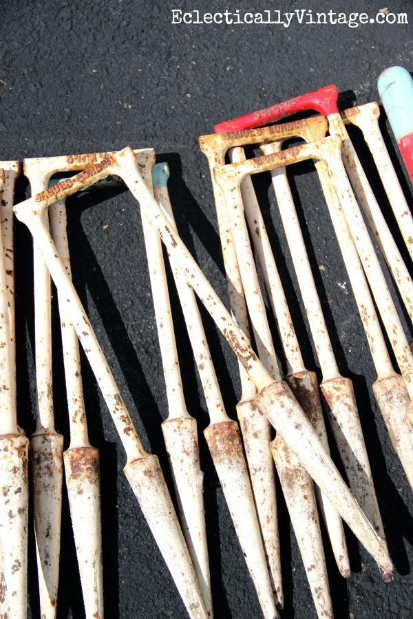 Vintage croquet set wickets