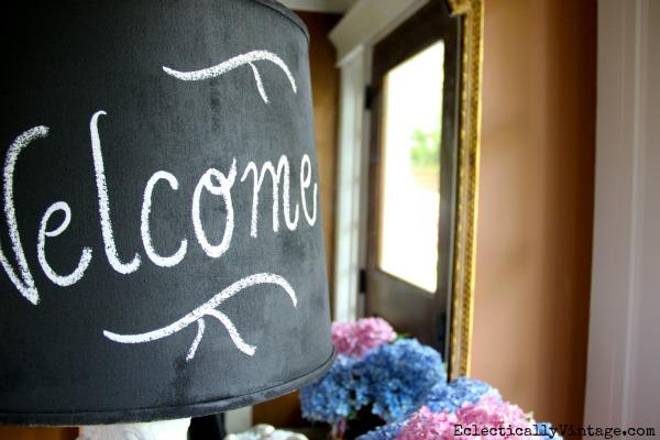 DIY Chalkboard Paint Lampshade - what a fun idea!  kellyelko.com