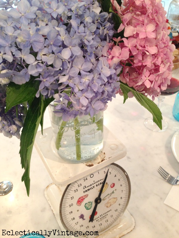 Hydrangea Centerpiece - love the vintage scale!  eclecticallyvintage.com