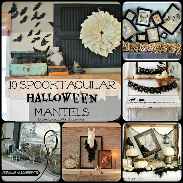 10 Halloween Mantel ideas - these all have a fabulous vintage twist!  kellyelko.com