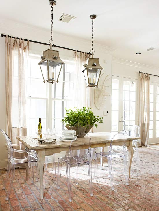 Ghost chairs with a rustic farm table - love the combination!  kellyelko.com