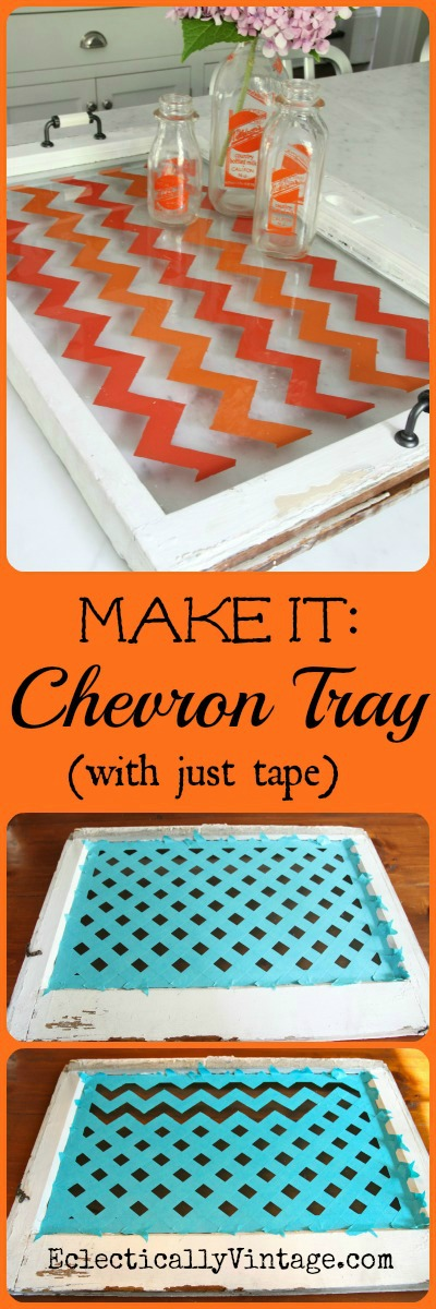 Make a Chevron Tray - learn how to paint chevron the easy way!  #12monthsofmartha #marthastewartcrafts kellyelko.com