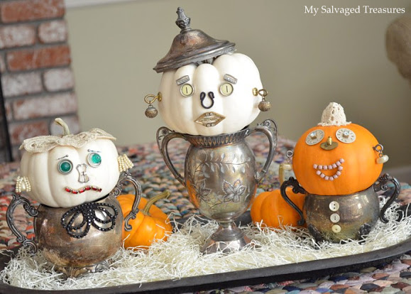 10 Wildly Creative Pumpkin Crafts - Like these junk pumpkins in silver pots!