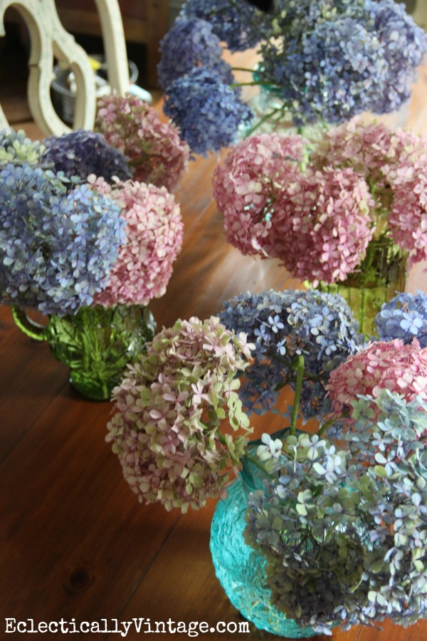 How to dry hydrangeas - this is the easiest way I've seen!  kellyelko.com