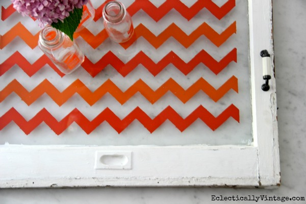 Make a Chevron Tray Tutorial- with just tape and paint!  eclecticallyvintage.com