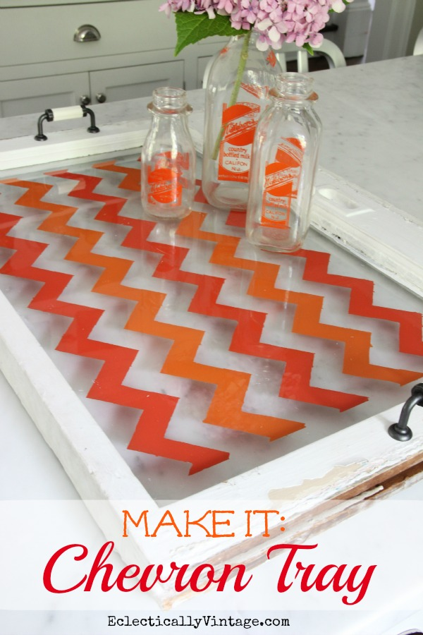 How to Paint Chevron -on old window or piece of glass - the easy way (no special stencils needed)!  kellyelko.com