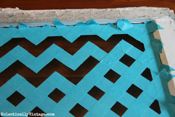 Make a Chevron Tray - with just tape and paint!  eclecticallyvintage.com
